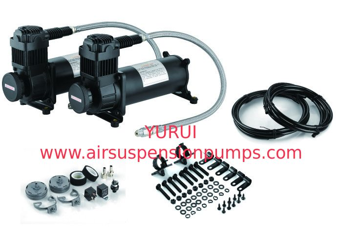 Chick Black Dual Air Compressor  With Mounting Accessories , Steel And Chrome Material