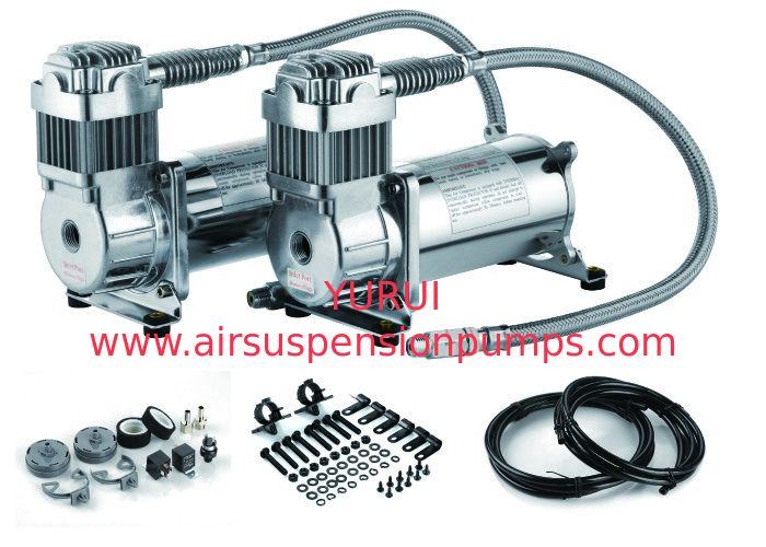 Steel Silver Dual Packs Air Lift Suspension Compressor Fast Inflation For Car Heavy Duty Strong Power