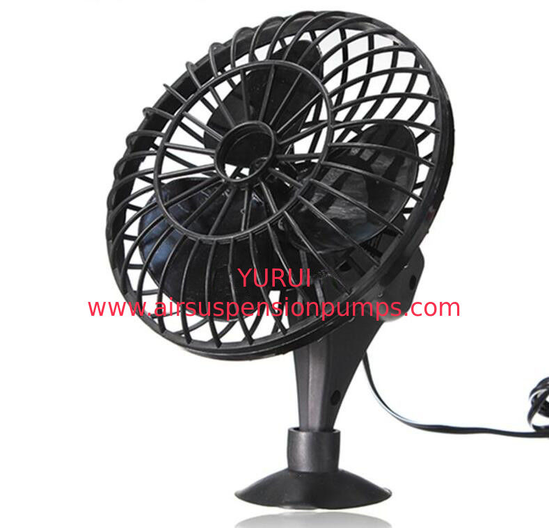 Black 4 Inch Plastic Car Cooling Fan DC 12V Oscillating With On / Off Switch